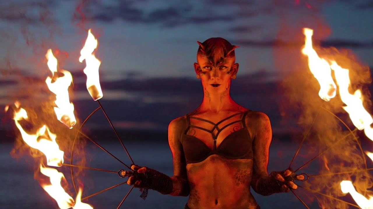 Dragon Puppet with Body Paint Fire Performer - Painted Peach
