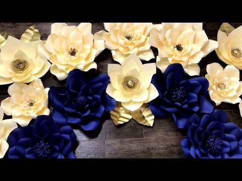Paper flower backdrop with Navy  Blue, Cream and Gold accents. Big paper flower backdrop