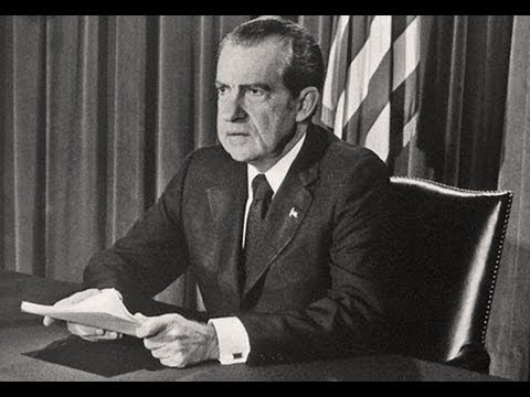 Richard Nixon giving his resignation speech, to this day he is still the only President to do so. Photo credits: Hulton Achiever/Getty Images