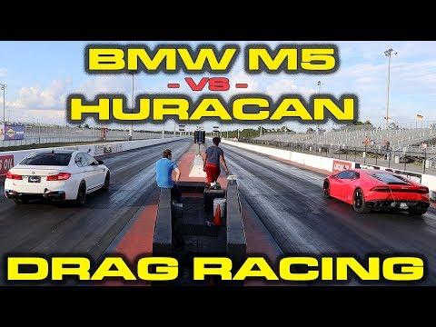 BMW STUNS LAMBO * BMW M5 vs Lamborghini Huracan 1/4 Mile Drag Racing