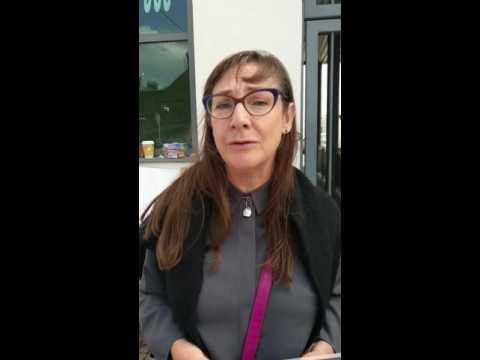 Pauline McLynn protesting at Shelbourne greyhound stadium