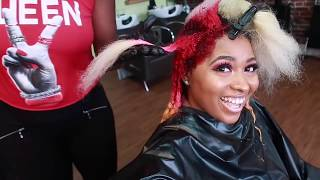 I DYED/Colored my hair again😱🍋🍉💓|Dying my hair 💓HOT PINK hair🌹RED hair 🍋YELLOW hair Tutorial