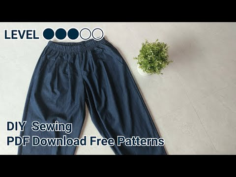 미돌남-(무료패턴 Free Patterns) 9부 벌룬 바지 옷만들기 / Making clothes balloon pants for womans / 服作り 手作教學