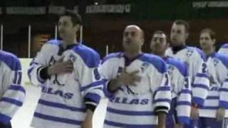 GREEK ICE HOCKEY:2008: Players singing Greek anthem after qualifying for Worlds