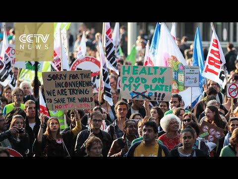 Thousands protest against EU free trade deals in Brussels