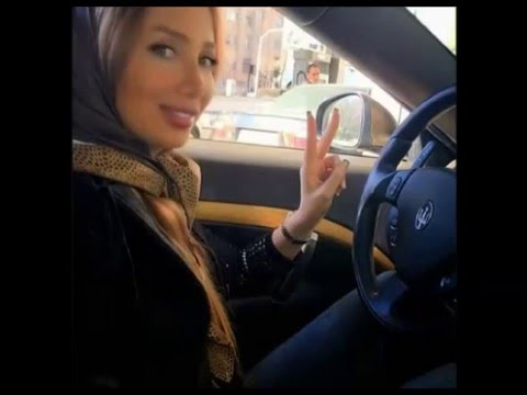 Sexy girls arab in bikini in car hijabi
