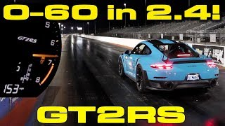 0-60 MPH in 2.4 seconds in a Porsche GT2RS drag racing down the 1/4 Mile