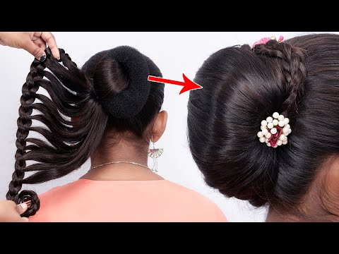 Beautiful Hairstyle For Wedding/Party/Function | Very Easy Braided Hairstyle With Donut Bun thumbnail