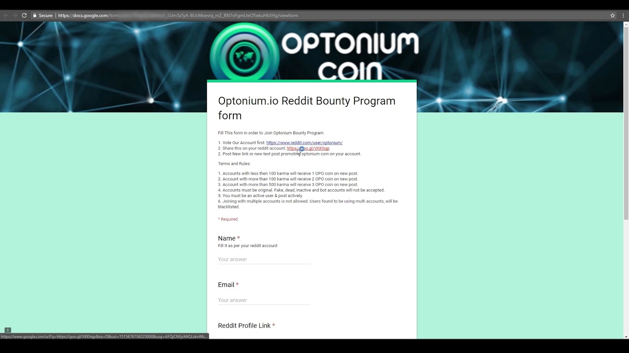 How To Fill Reddit Bounty Program form to Earn Free Optonium Coin Daily