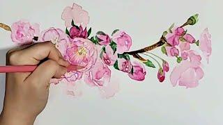 봄이니까 꽃을 그려 보아요 | 초보 꽃 그리기 | 수채…