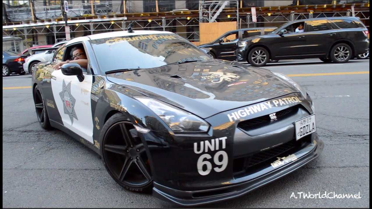 Cars 30k >> Nissan GT-R Police Car & American Muscles - Corsa America Rally Arrival (Part 1) - YouTube