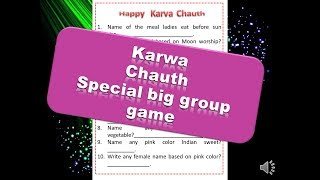 """karwa Chauth"" Special Paper Game For Ladies Kitty Party Or Couple Kitty Party"