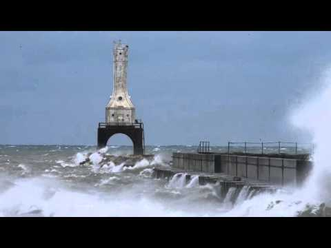 Big Waves Crash Port Washington WI Breakwater by James Meyer