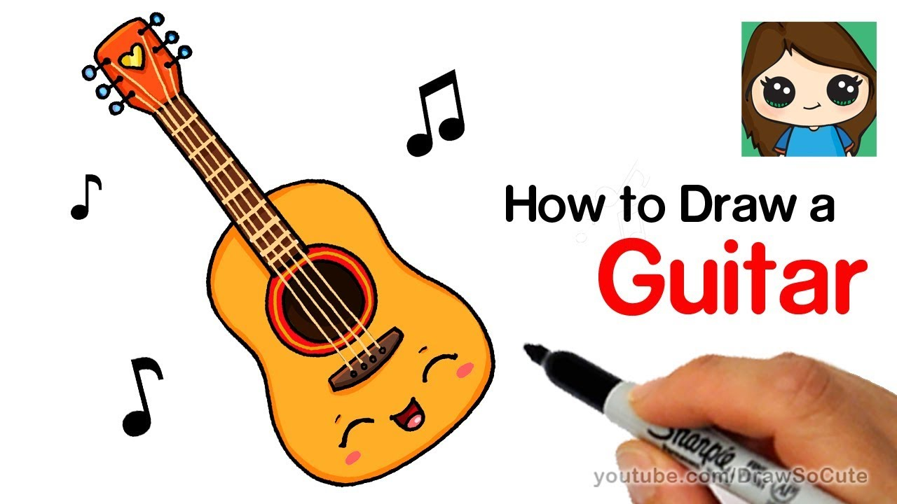 How To Draw A Guitar Easy And Cute Youtube