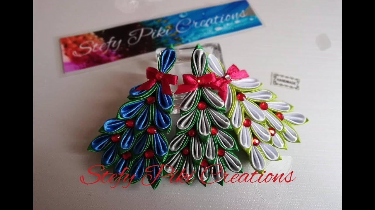 Albero Di Natale Kanzashi.How To Make Kanzashi Christmastree 12 D I Y Tutorial Albero Di Natale In Raso Youtube