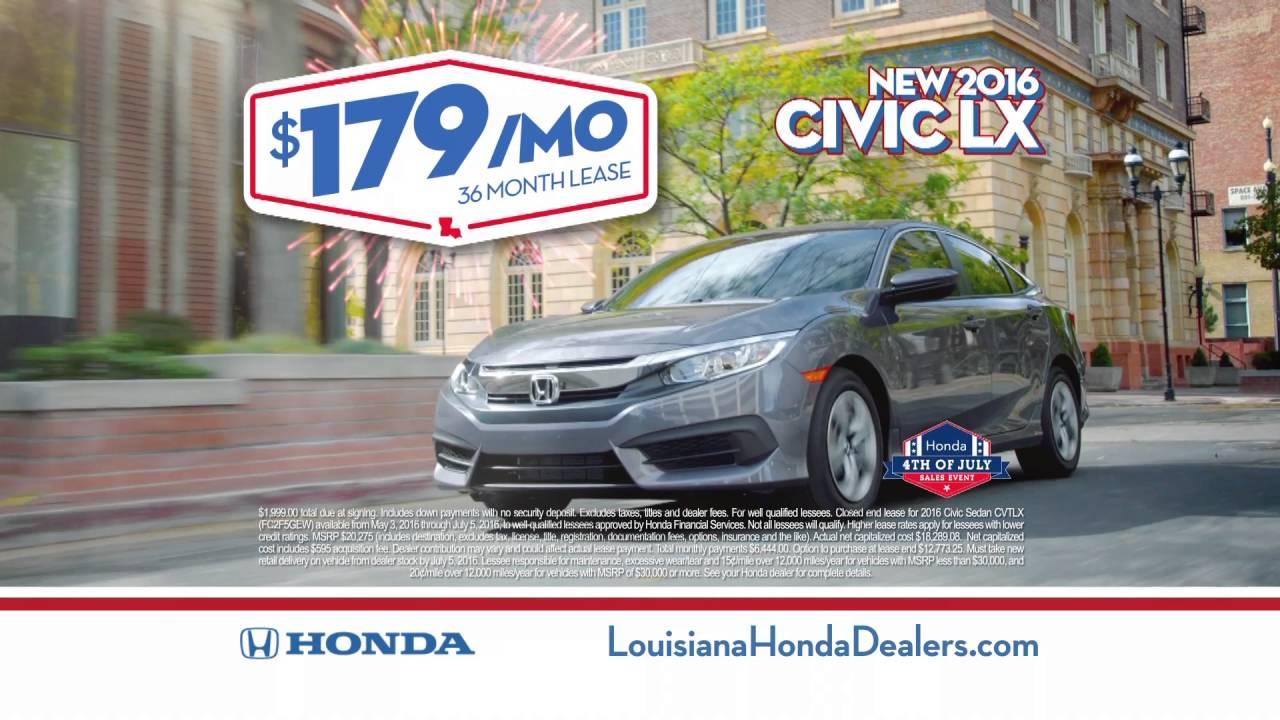 Honda Dealerships In Louisiana >> Louisiana Honda Dealers Summer Of Savings July 4th