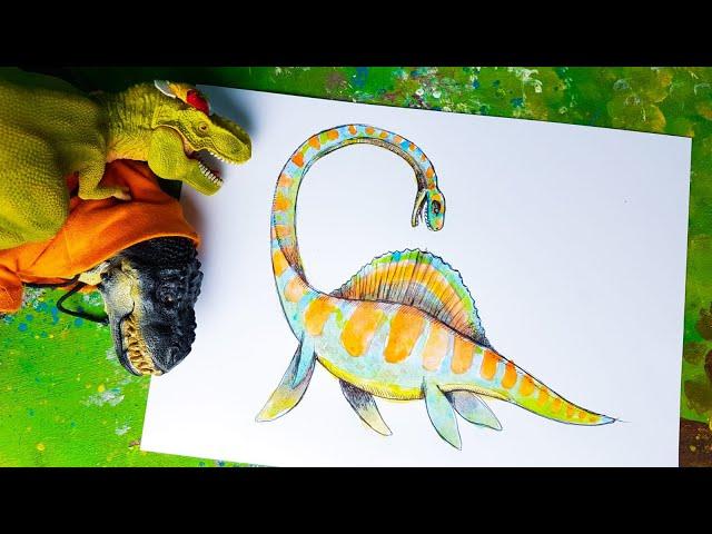 Uniamo un Tirannosauro e un Plesiosauro  [Tutorial Disegno]