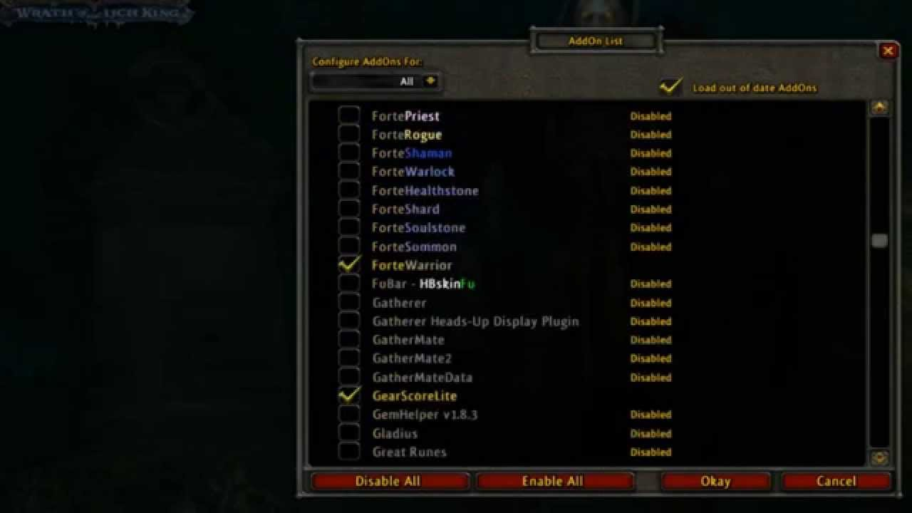 My wow 3 3 5 (WOTLK) Addons by ColourForBlinds