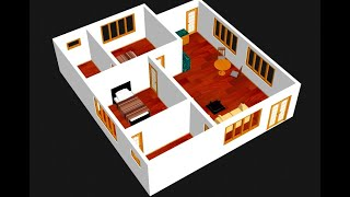 Small House Plan 9 X 10m 2 Bedroom With American Kitchen 2020