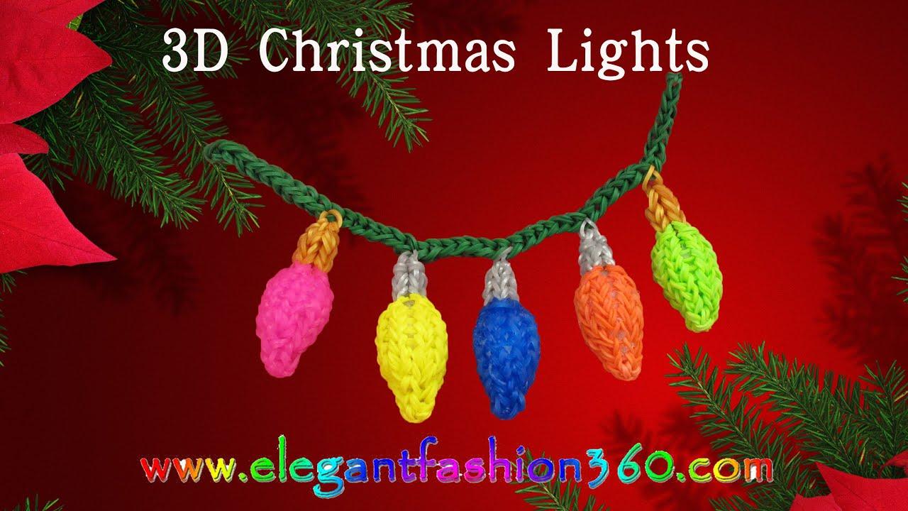 Rainbow Loom Christmas Light 3D Charms - How to Loom Bands ...