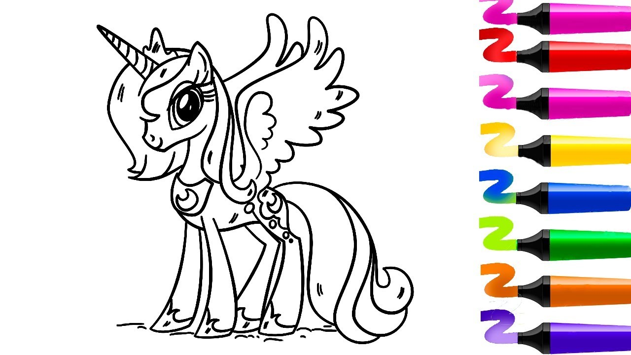 Coloriage Licorne! Coloriage De Princesse! Dessiner Facilement Dessin Facile Et Colorier