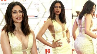 Rakul Preet Singh flaunts her hot Yellow Open dress at Nexbrands Summit andamp; Awards 2020 | FIlmylooks