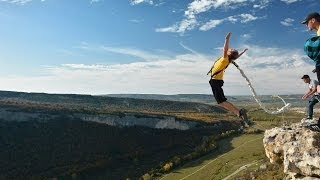 Роупджампинг в Крыму - прыжки со 150 метрой скалы в Качи-Кальоне. Rope Jumping 150 meters.(Все об экстриме и экстремальном спорте смотрите у нас в группе: http://vk.com/xsportorg И на сайте: http://x-sport.org Прыжки..., 2014-05-05T14:29:23.000Z)