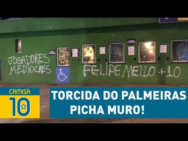 """""""FELIPE MELO + 10"""": torcida do Palmeiras PICHA muro!"""