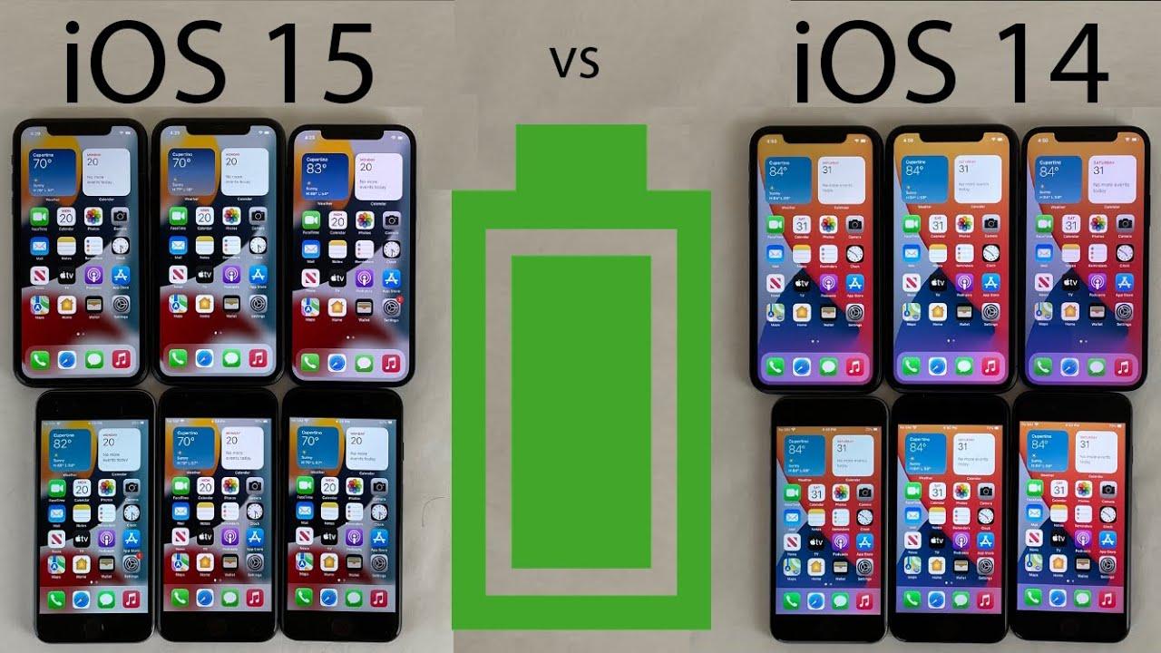 iOS 15 vs iOS 148 BATTERY Test on iPhone 12 11 XR 8 7 u0026 6s