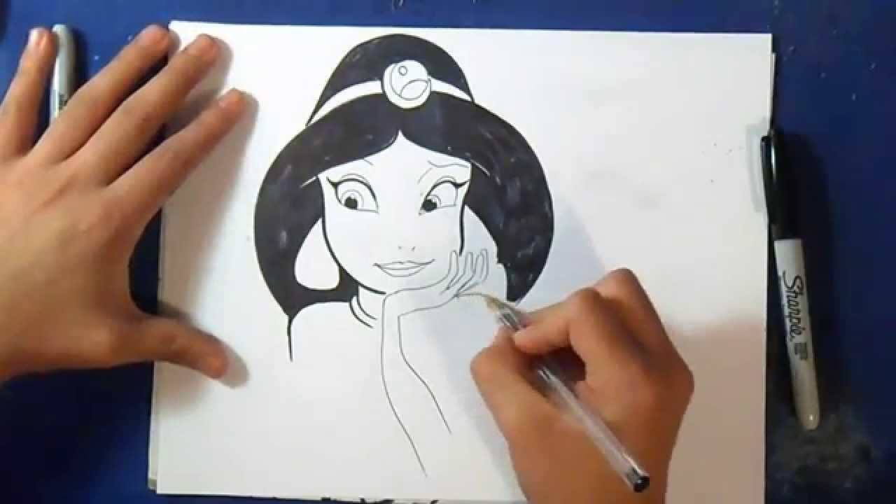 Como desenhar o princesa jasmine aladdin youtube - Dessiner aladin ...