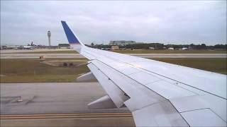 United Boeing 737-900 Cabin, Pushback, Engine start, Taxi, Takeoff at Orlando, Landing at EWR