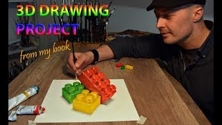 Drawing Lego Bricks - 3D Trick Art /Project from my book