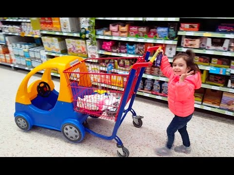 Emily Doing Shopping - Supermarket Song - Kids Mini Car Shopping Cart