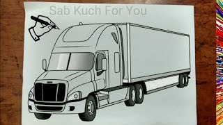 #17 How to Draw Semi Truck   Step by step easily 😊 Tutorial
