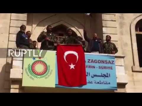 Syria: FSA militants hang Turkish flag over Afrin legislative council building