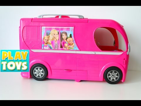 Thumbnail: Barbie Glam Camper van RV fun toys review - Barbie kitchen, Swimming pool, Bathroom and barbie bed