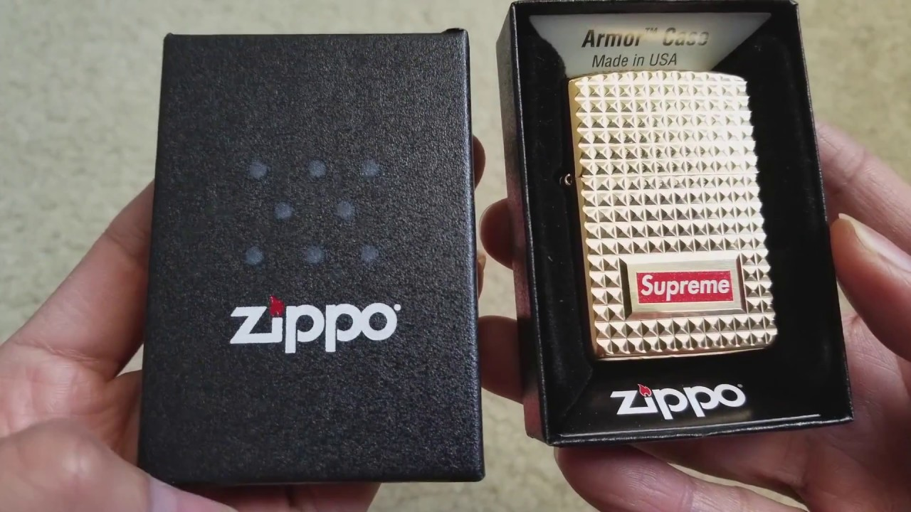 various colors 53b03 80dc5 Unboxing New Diamond Cut GOLD SUPREME x Zippo Lighter! 12 22 2017