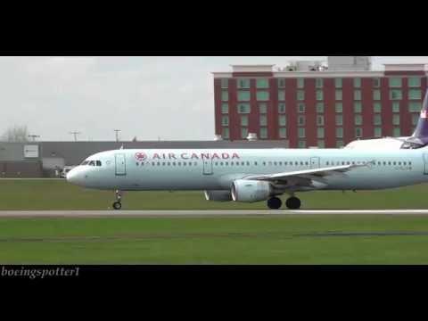 Air Canada Airbus a321 landing & takeoff at Ottawa Macdonald-Cartier International Airport