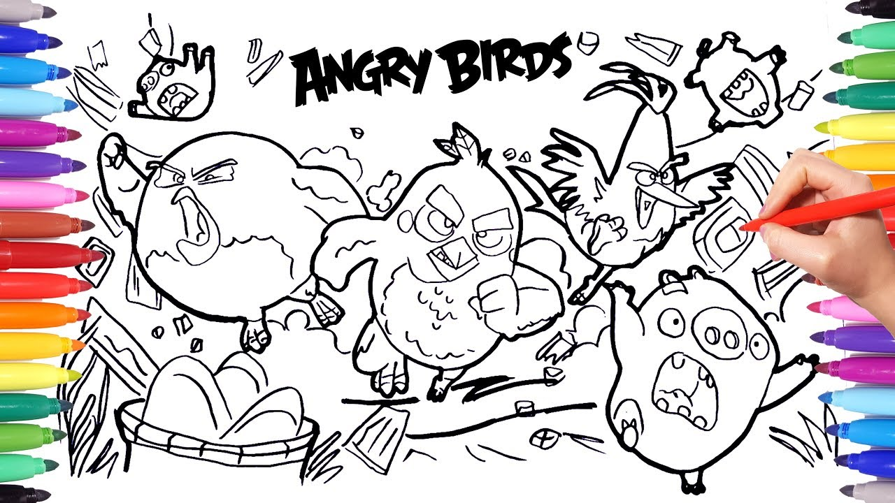 Angry Birds Coloring Pages For Kids How To Draw And Color Angry