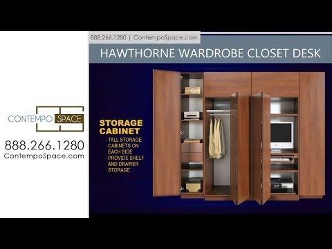 Hawthorne Wardrobe Closet Desk Instant Home Office  Item #: 8770