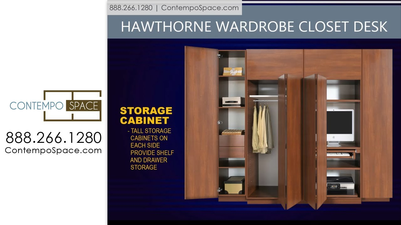 Hawthorne Wardrobe Closet Desk - Instant Home Office | Item #: 8770 - YouTube