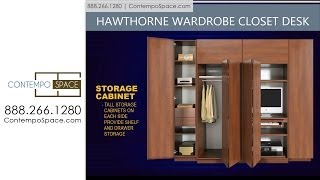 Hawthorne Wardrobe Closet Desk - Instant Home Office | Item #: 8770