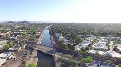 Drone Video of Old Town Scottsdale Arcadia canal in AZ