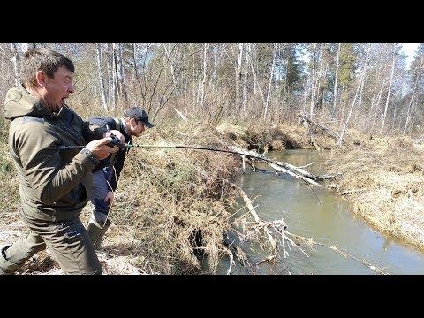 ЛОВЛЯ ЩУКИ В РУЧЬЕ. Рыбалка на малой реке весной. Первая рыбалка 2019.