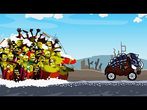 Гибридные и смешные животные машинки против ЗОМБИ. ZOMBIE ROAD TRIP. Видео для детей. For children.