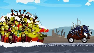 Гибридные и смешные животные машинки против ЗОМБИ. ZOMBIE ROAD TRIP. Видео