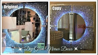 DIY Glam Mirror Decor | Glam Mirror Dupe