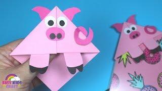 Easy Pig Corner Bookmark | Back to School DIY | Paper Craft for Kids