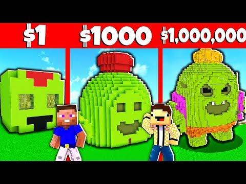 СПАЙК ИЗ БРАВЛ СТАРС ПОСТРОЙКА В МАЙНКРАФТЕ ЗА 1$ vs ЗА 10000$ Битва Построек Brawl Stars Minecraft