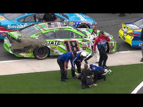 Kyle Busch receives medical attention after grueling race